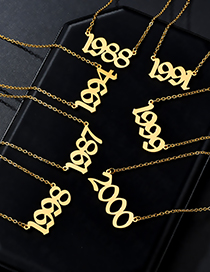 Fashion 1998 Rose Gold Number Year Stainless Steel Necklace