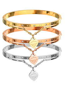 Fashion Rose Gold Roman Numerals Stainless Steel Love Bracelet