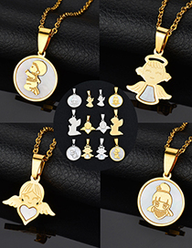Fashion Angel 3-steel Color Angel Shell Stainless Steel Necklace