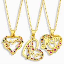 Fashion A Letter Mom Heart Necklace