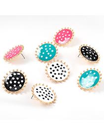 Fashion Rose Red Alloy Drop Oil Wave Dot Round Stud Earrings Geometric Earrings