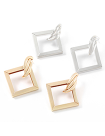 Fashion Silver Color Metal Square Alloy Earrings
