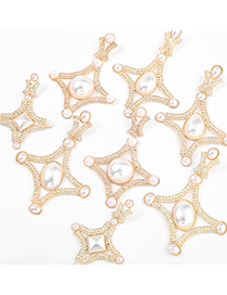 Fashion Round Silver Color Geometric Alloy Diamond And Pearl Earrings