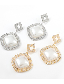 Fashion Silver Color Rounded Rectangle Alloy Earrings