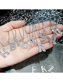 Fashion A English Letter A-z Adjustable Necklace