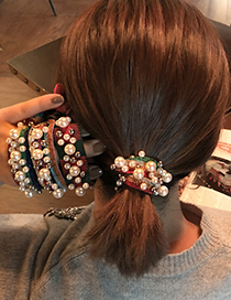 Fashion (rainbow) Purple Yellow Beaded Color Knotted Hair Rope