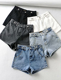 Fashion Light Blue Love Pocket Denim Shorts