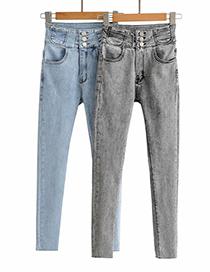 Fashion Blue Stretch Denim Pants With Small Pockets