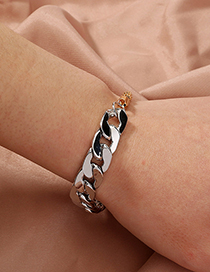 Fashion Silver Stitching Thick Chain Bracelet