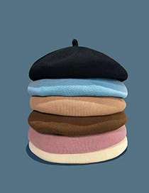 Fashion Sky Blue Thin Cotton And Linen Breathable Pu Leather Beret