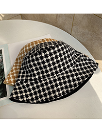 Fashion Black Double-sided Lattice Fisherman Hat