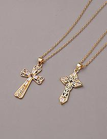 Fashion B Copper Zircon Cross Religious Necklace