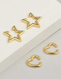 Fashion Love Bronze Glossy Love Five-pointed Star Earrings With Real Gold Plated