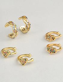 Fashion C Copper Micro-inlaid Zircon Palm Heart Geometric Stud Earrings