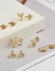 Fashion A Copper Micro Inlaid Colored Zircon Moon Bee Lip Stud Earrings