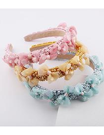 Fashion Yellow Sponge Colorful Pearl Lace Flower Headband