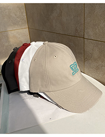 Fashion Beige Letter Embroidered Soft Top Baseball Cap