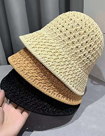 Fashion Caramel Woven Straw Hollow Fisherman Hat