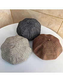 Fashion Beige Check Beret