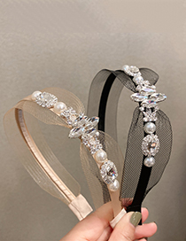 Fashion Khaki Mesh Rhinestone Headband