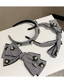 Fashion Spring Clip Flower Bow Houndstooth Hair Band
