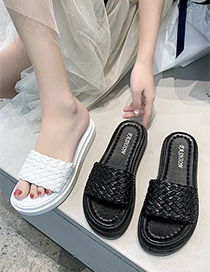 Fashion Black Woven Flat Sandals