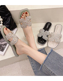 Fashion Creamy-white Rhinestone Sequined Flat Slippers