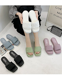 Fashion Light Blue Woven Square Open Toe Sandals And Slippers