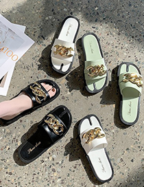 Fashion Light Green Split Toe Metal Chain Sandals And Slippers