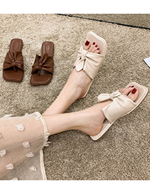 Fashion Dark Brown Flip-toe Bow Flat Sandals And Slippers
