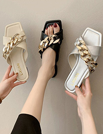 Fashion Creamy-white Metal Chain Cross Sandals And Slippers