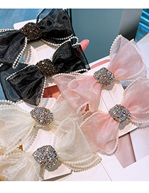 Fashion Light Pink Pearl Hairpin With Full Rhinestone Bow