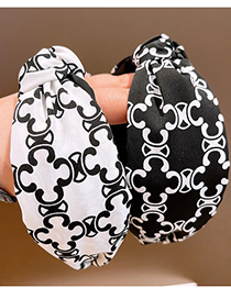 Fashion White Printed Graffiti Twisted Headband In The Middle