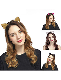 Fashion 5 Rose Red Color Sequined Bunny Ears Headband
