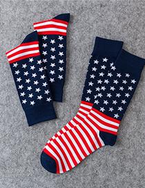 Fashion Stars And Stripes Flag Maple Stripe Socks