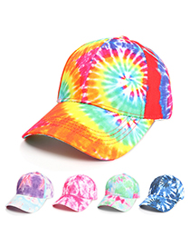 Fashion Pink Blue Tie-dye Printed Sun Visor Baseball Cap