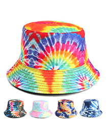 Fashion Blue And White Tie-dye Color Three-dimensional Firework Double-sided Fisherman Hat