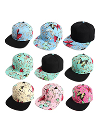 Fashion Beige Hat With Black Brim Printed Flat Brim Butterfly Baseball Cap