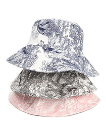 Fashion Pink Ink Painting Tie-dye Fisherman Hat