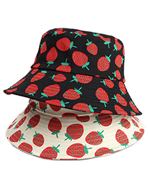 Fashion Beige Strawberry Print Fruit Fisherman Hat