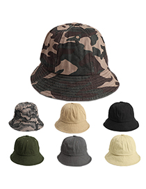 Fashion Beige Camouflage Washed Cotton Dome Sun Hat