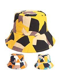 Fashion Yellow Black Diamond Camouflage Plaid Fisherman Hat