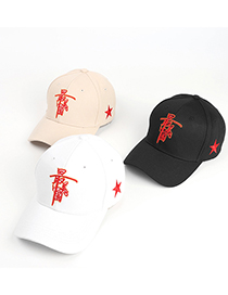 Fashion White Five-pointed Star Chinese Embroidery Baseball Cap