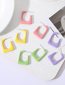 Fashion Pink Solid Color Geometric Square Candy Color Earrings