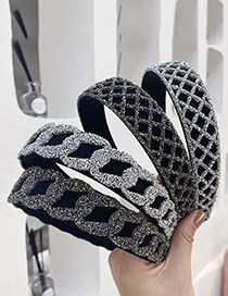 Fashion Grid Silver Color Rhinestone Chain Mesh Wide Brim Headband