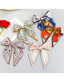 Fashion Coffee Color Printed Fabric Bow Hairpin