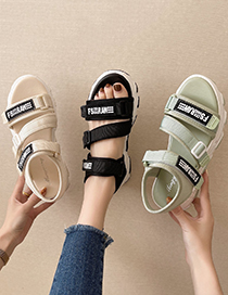 Fashion Beige Open Toe Letter Platform Sandals