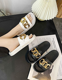 Fashion Black Metal Chain Flat Slippers