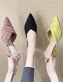 Fashion Matcha Green Chunky Heel Pointed Toe Pleated Shoes