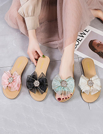 Fashion Pink Rhinestone Flat Slippers With Bow